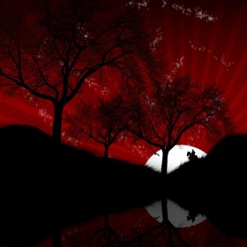 Red Rising Moon Horseman iPad Wallpaper