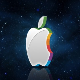 Apple in Space iPad Wallpaper