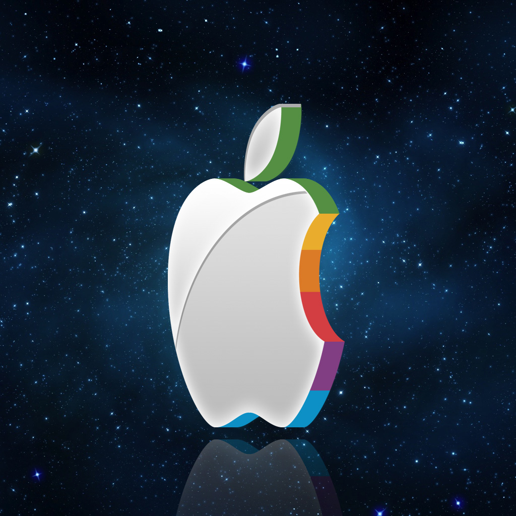 Apple in space ipad wallpaper ipadflava apple logo space thecheapjerseys Image collections