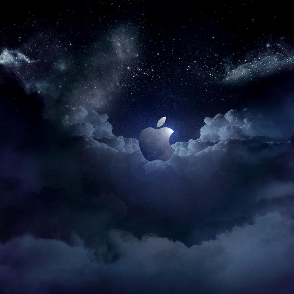cool apple logos in space. cloudy apple logo ipad wallpaper cool logos in space i