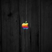 Old School Apple Wood iPad Wallpaper
