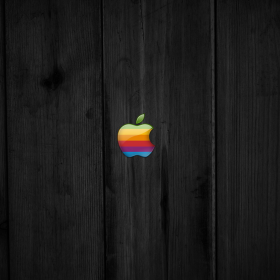 Old School Apple Wood iPad Wallpaper