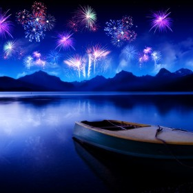 Lake Fireworks iPad Wallpaper