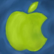 Painted Green Apple iPad Wallpaper