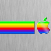 Retro Rainbow Logo iPad Wallpaper