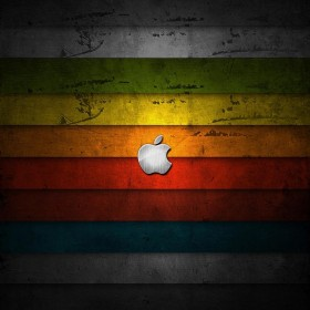 Apple logo Rainbow Panels iPad Wallpaper