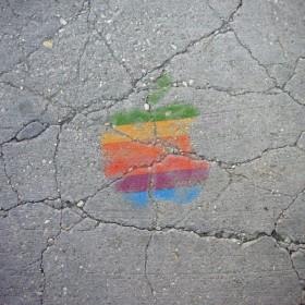 Sidewalk Apple Logo iPad Wallpaper