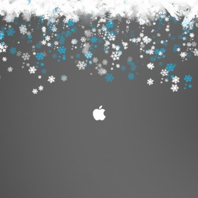 Snowy Apple Logo iPad Wallpaper